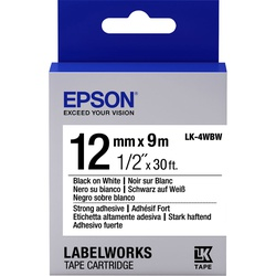 Epson Label Cartridge Strong Adhesive LK-4WBW Black/White 12mm (9m)